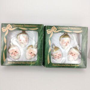 2-boxes-039-039-Christmas-Trimmeries-039-039-6-Santa-Ornaments-Bradford-Glass