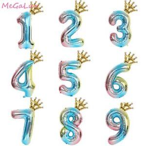 32 inch Rainbow Number Balloons Crown Air Balloon Wedding Birthday Party Decor