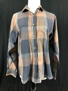 Diane-Von-Furstenberg-Brown-Plaid-Top-Cotton-Blend-Long-Sleeve-Top-Blouse-Size-8