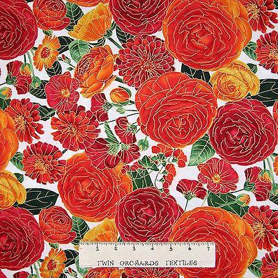Ranunculus Fabric - Large Packed Orange Flowers Floral - Timeless Treasures YARD