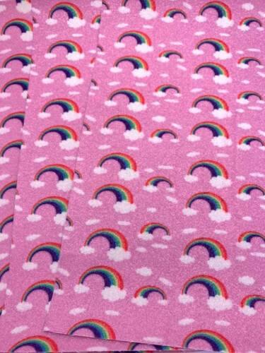 Rose Rainbows Fine Brillant Paillettes Tissu A4 pour cheveux arcs /& Craft