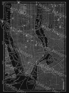image is loading black 1910 new york city street map art