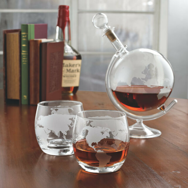 Whiskey Decanter Set Crystal Etched Gl Globe Wine Bar Liquor Bottle Stopper