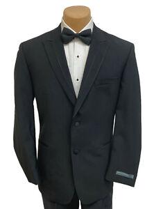 New Men's Perry Ellis Portfolio Black Tuxedo Jacket Suit Coat Peak Lapels 52L