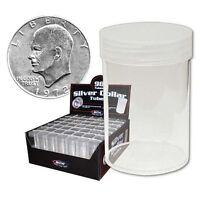 (5) Bcw Brand (silver Dollar) Round Clear Plastic Coin Holder Storage Tubes