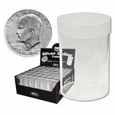 (5) BCW Brand (Silver Dollar) Round Clear Plastic Coin Holder Storage Tubes