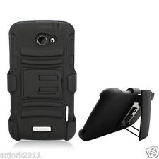 HTC ONE V HYBRID HARD CASE COVER + HOLSTER COMBO w/ SWIVEL BELT CLIP BLACK