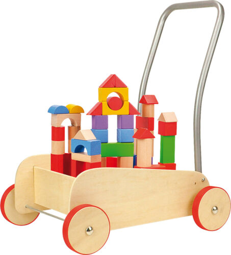 Lauflernwagen Bausteine Holz Bauklötze Lauflernhilfe Walker Kind Baby