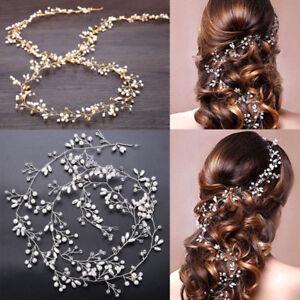 Women-Girl-Bride-Wedding-Crystal-Pearl-Hair-Band-Garland-Flower-Headband
