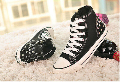 Women's new high-top Lace up rivet studded canvas shoes side zip sneakers boots