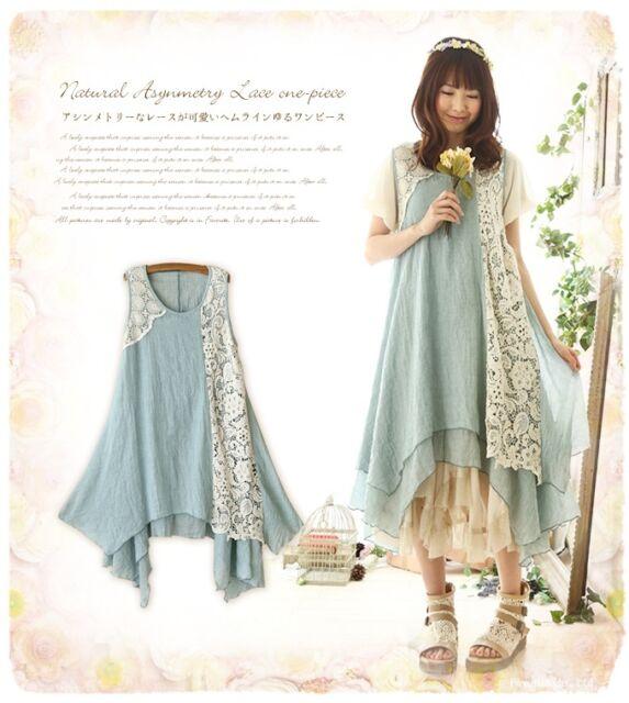 New Japanese Retro Lace Sweet Lolita Mori Girl Style embroidery Sleeveless Dress