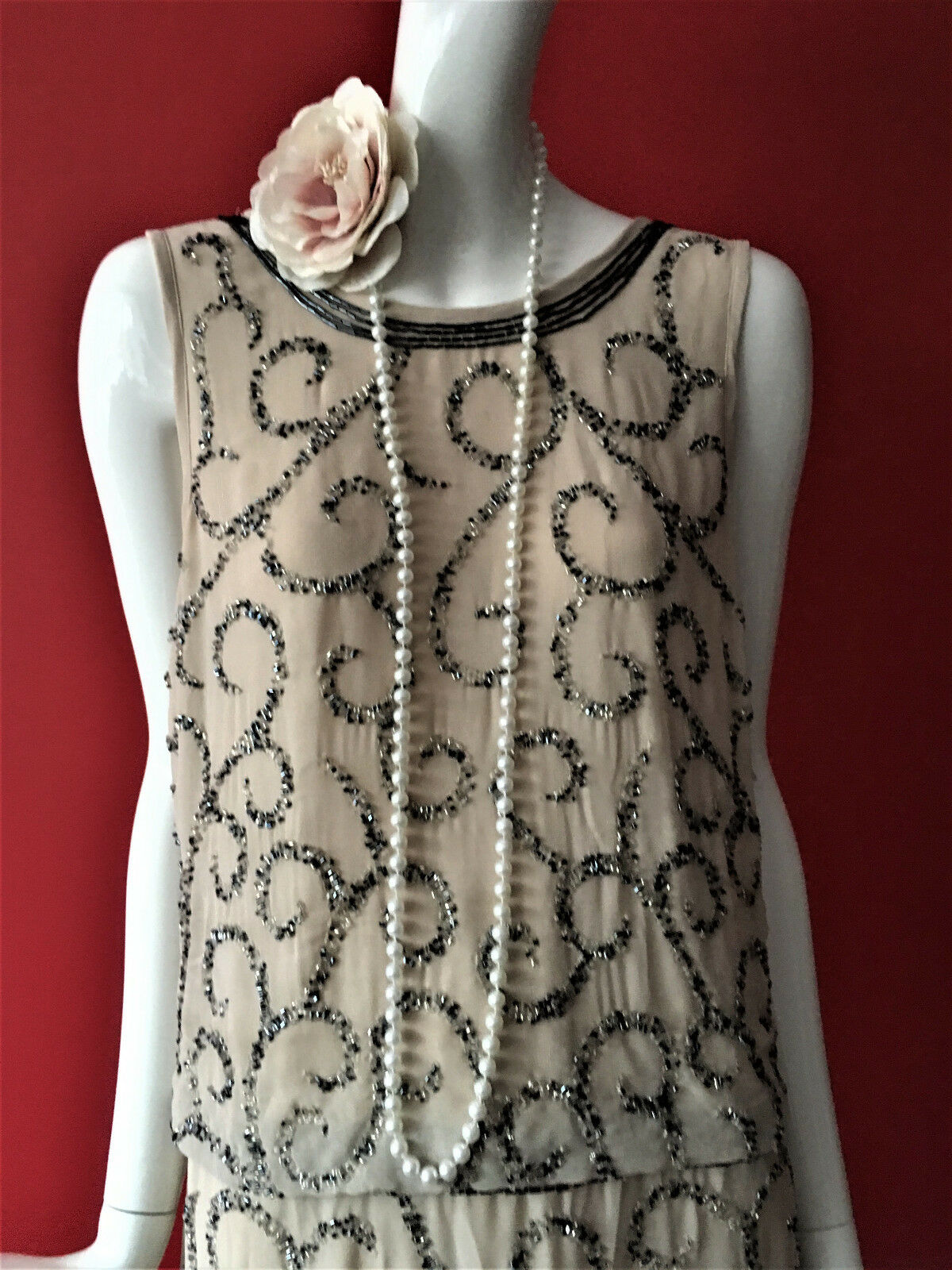 Frock & Frill Beaded Flapper 1920s Gatsby Charleston Charleston Charleston Party Dress Größe 16 BNWT 267031