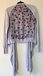 d057a1cb9 TED BAKER Blue Grey Silk Butterfly Back Waterfall Cardigan Sweater ...