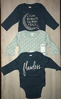 Nwt- Old Navy Girls 3 Long Sleeve Onesies Bodysuits- Size 0-3 Months