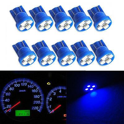 10pcs W5W T10 Wedge Blue 4-SMD LED Dashboard Light 194 2825 Gauge Cluster Bulbs