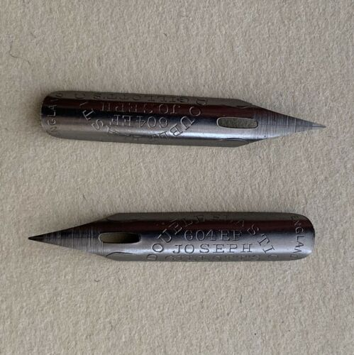 2 Vintage Joseph Gillott's 604 EF Extra Fine Flex Dream Point Dip Pen Nibs