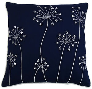 Navy Blue Pillow Cover Square Cotton