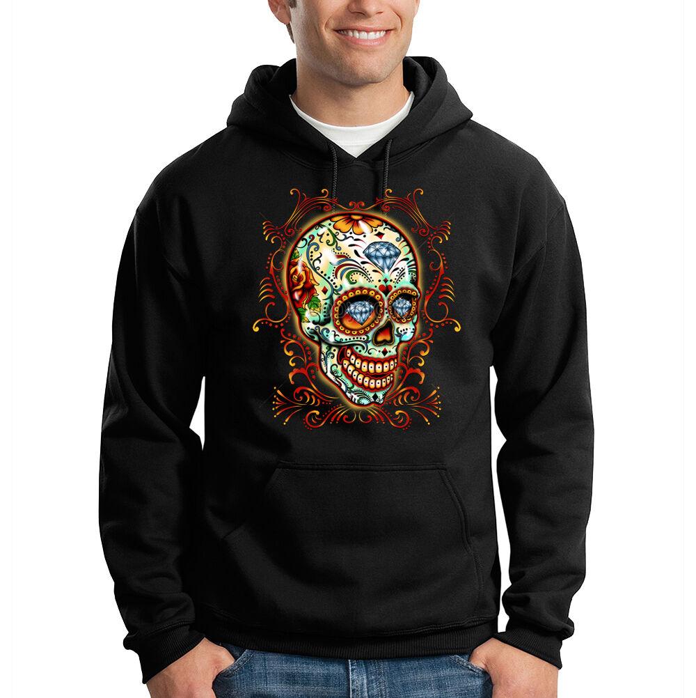 Sugar Skull Diamonds Floral Day Of The Dead Dia Muertos Hooded Sweatshirt Hoodie