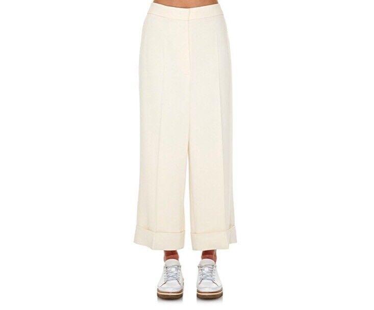 S Max Mara Ivory Flax Linen Wide Leg Cuffed Trousers Pants Size 14
