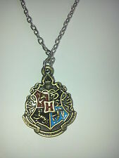 Hogwarts logo badge/blue pendant necklace.witch/wizard/goblin/magical Alloy