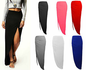 6f855a8aa4 Ladies Sexy Stretch Ruched Side Skirt Open Split Plain Summer Maxi ...