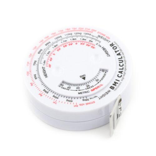 BMI Body Mass Index Retractable Tape 150cm Measure Calculator Tools new CO