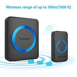 Wireless-Doorbell-Waterproof-Wall-Plug-In-Black-Cordless-Door-Chime-Kit