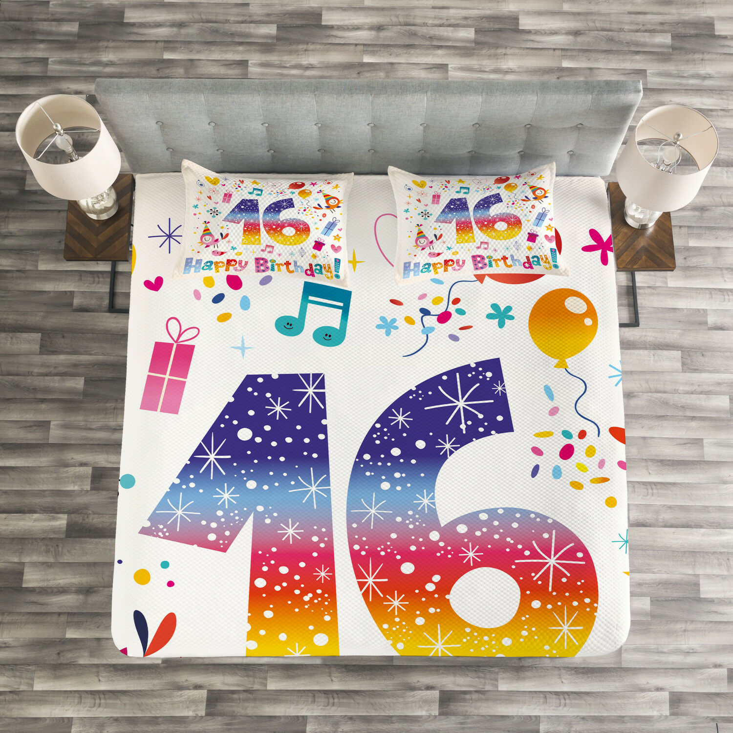 colorful Quilted Bedspread & Pillow Shams Set, Cute Teen Celebration Print