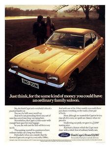 Ford Capri Gold Car Retro Advert Poster Print New