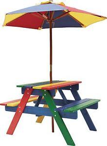Extrem Kinder Gartenmöbel Bank Tisch und Sonnenschirm Picknick Set robust IX08