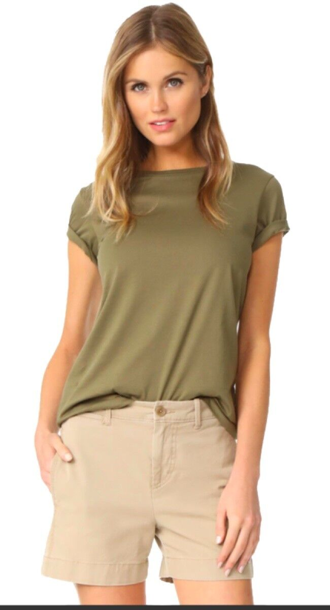 NWT Vince Women's Boy Basic Tee T Shirt Cotton Top Green Olivewood X Small XS