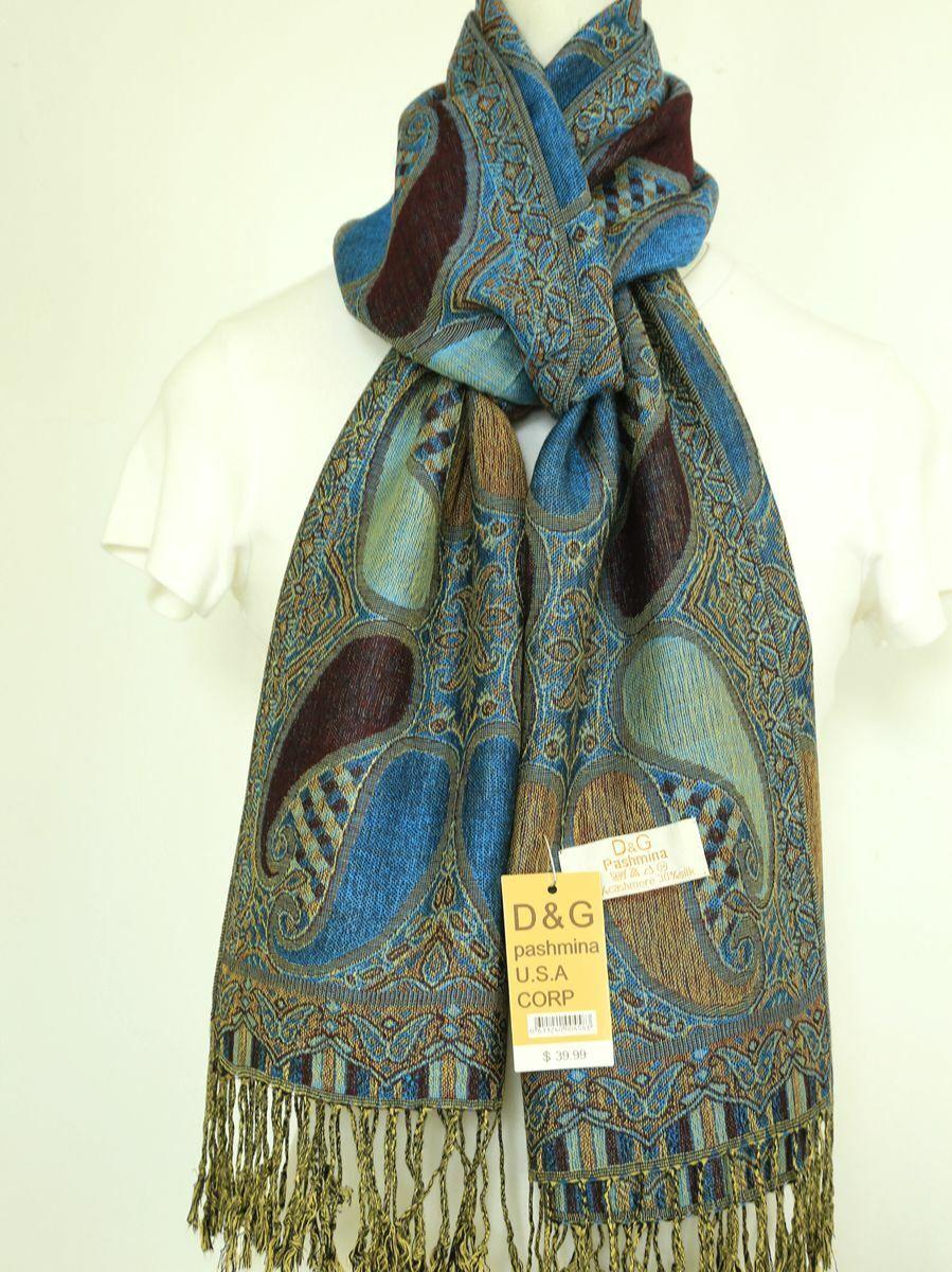 DG Women's Pashmina Scarf Shawl;Paisley Purple Turquoise Silk Cashmere*Soft*