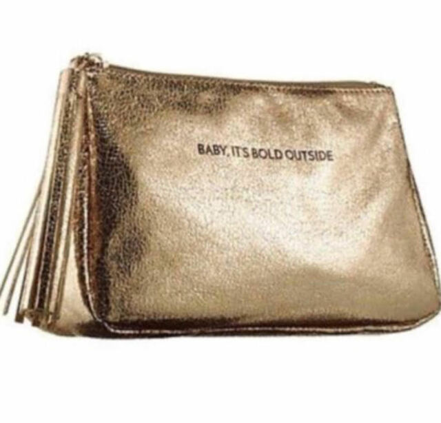 Sephora Baby It S Bold Outside Gold Shimmer Cosmetic Makeup Bag New With Tags