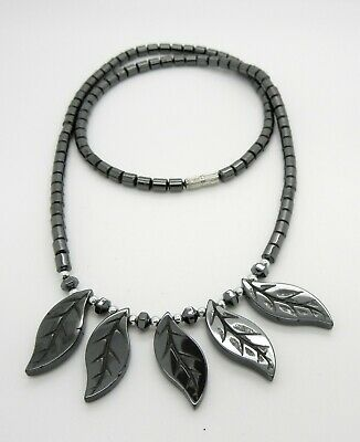 "24/"" Black Hematite Five 5 Leaf Leaves Bead Necklace~Screw Barrel Clasp"