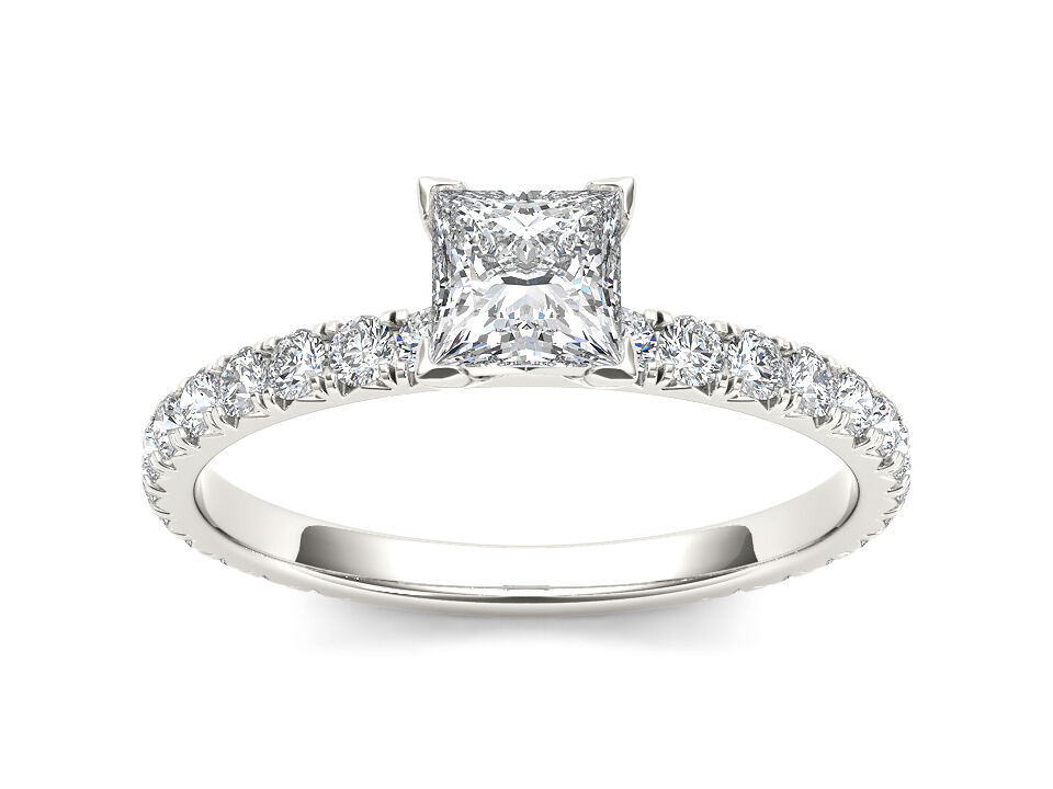 14K White gold 1.00 Ct Princess Diamond Classic Engagement Ring