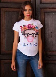 VIVA-LA-VIDA-Frida-Kahlo-Bubblegum-Cartoon-T-Shirt-white