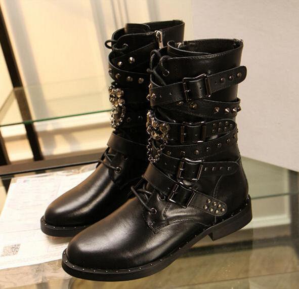 Women's Punk Leather Rivet Buckle Strap Strap Strap Block Heel Motorcycle Combat Boots shoes 319dc9