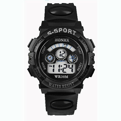 Waterproof Children Boy Digital LED Quartz Alarm Date Sports Wrist Watch Black