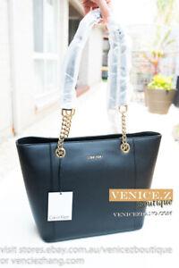 BNWT-CALVIN-KLEIN-Genuine-Saffiano-Leather-Logo-Tote-Shoulder-Bag-Black-Gold