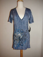 Women's Sinful V Neck T Shirt Top Blue Tie Dye W/wings Silver Foil Design L