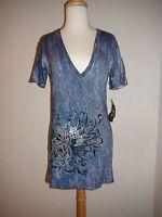 Women's Sinful V Neck T Shirt Top Blue Tie Dye W/wings Silver Foil Design L