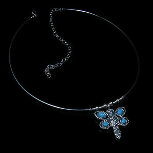 925-Sterling-Silver-Natural-Turquoise-Butterfly-Choker-Necklace