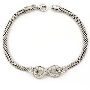 Sterling-Silver-Infinity-Bracelet-with-cz-7-034-NEW-925-4-9g-3501