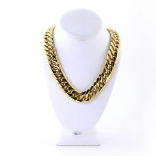 Mens Miami Cuban Link Curb Chain 14k Gold Plated Hip Hop 21MM Thick Chain JayZ