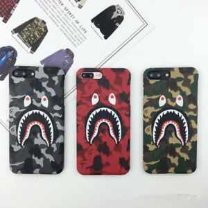New-Camo-Bape-Camouflage-Shark-Design-Hard-Case-Cover-For-iPhone-6-6s-7-8-Plus-X
