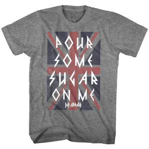 11a282627ba91 Details about Def Leppard Pour Some Sugar On Me Men s T Shirt Union Jack  Rock Band Tour Merch