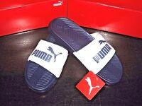 Puma Mens PopCat Sandals Slip on Flip Flops Slides Navy Blue & White Size 10 NWT