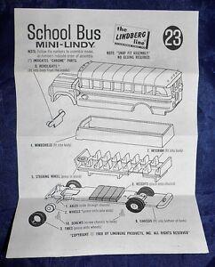 Vtg 1969 The Lindberg Line Mini-Lindy School Bus #23 *instruction sheet only*
