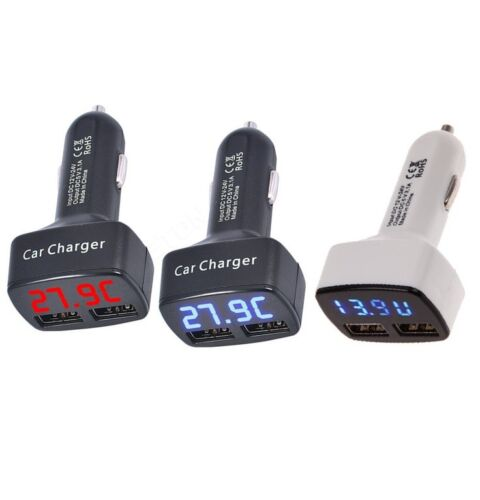 DC 5V 3.1A  4 In 1 Dual USB Car Charger Adapter Voltage Tester For Phone Tablet