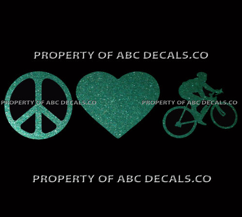 VRS PEACE LOVE CYCLING ROAD RACE Guy Bike Helmet Sign Heart CAR METAL DECAL